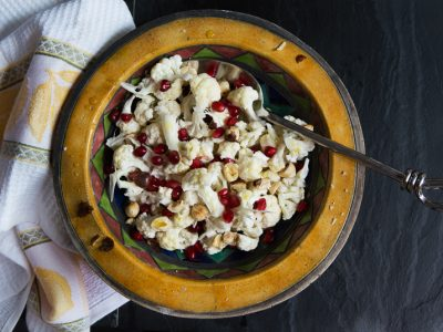 Cauliflower, pomegranate & toasted hazelnut salad
