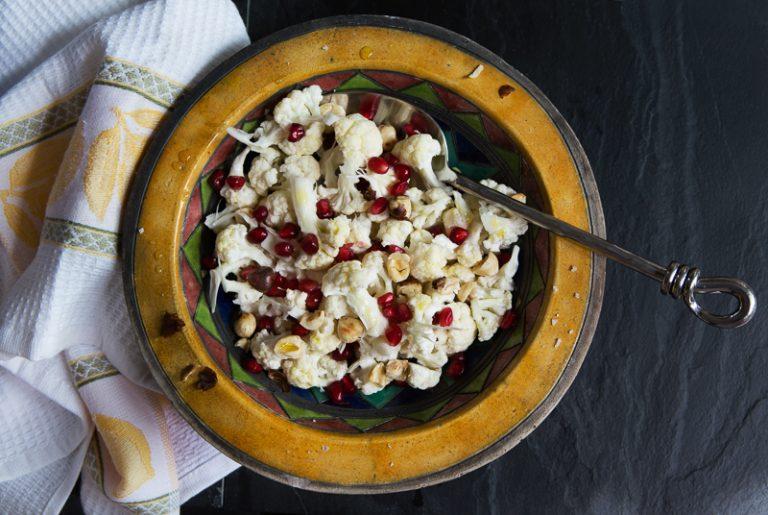 Cauliflower, pomegranate & toasted hazelnut salad