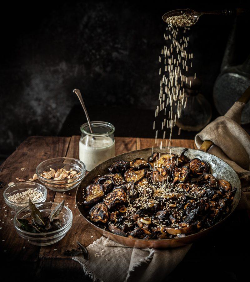 33-Aubergine Mushroom savoury unami dish with garlic and sesame seeds and tahini dressing_Apr20_5157